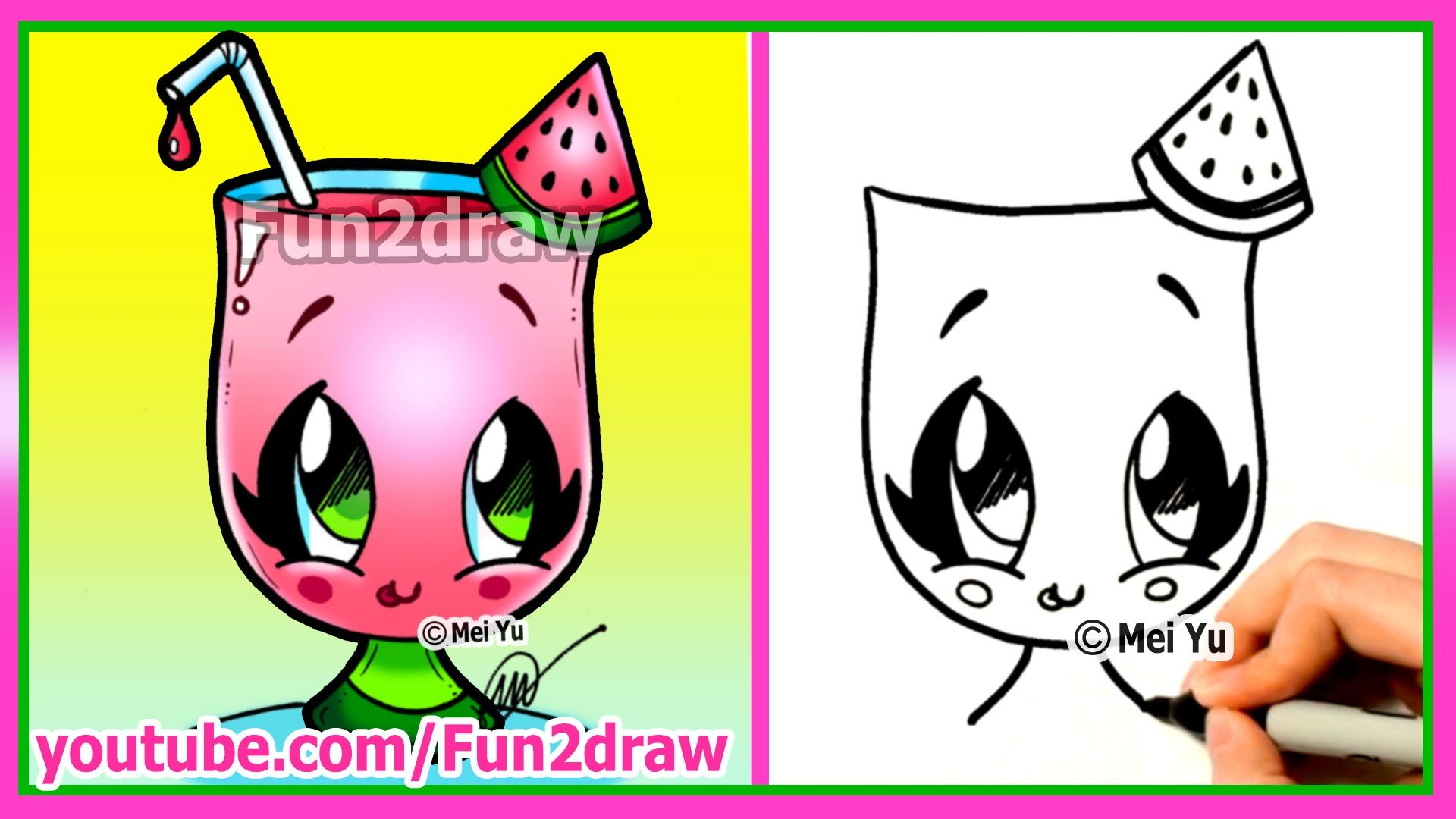 How To Draw Cartoons Drawing Art For Kids Summer Watermelon Drink Cute Easy Food Fun2draw Cartoon Drawings Watermelon Drawing Cute Food Drawings