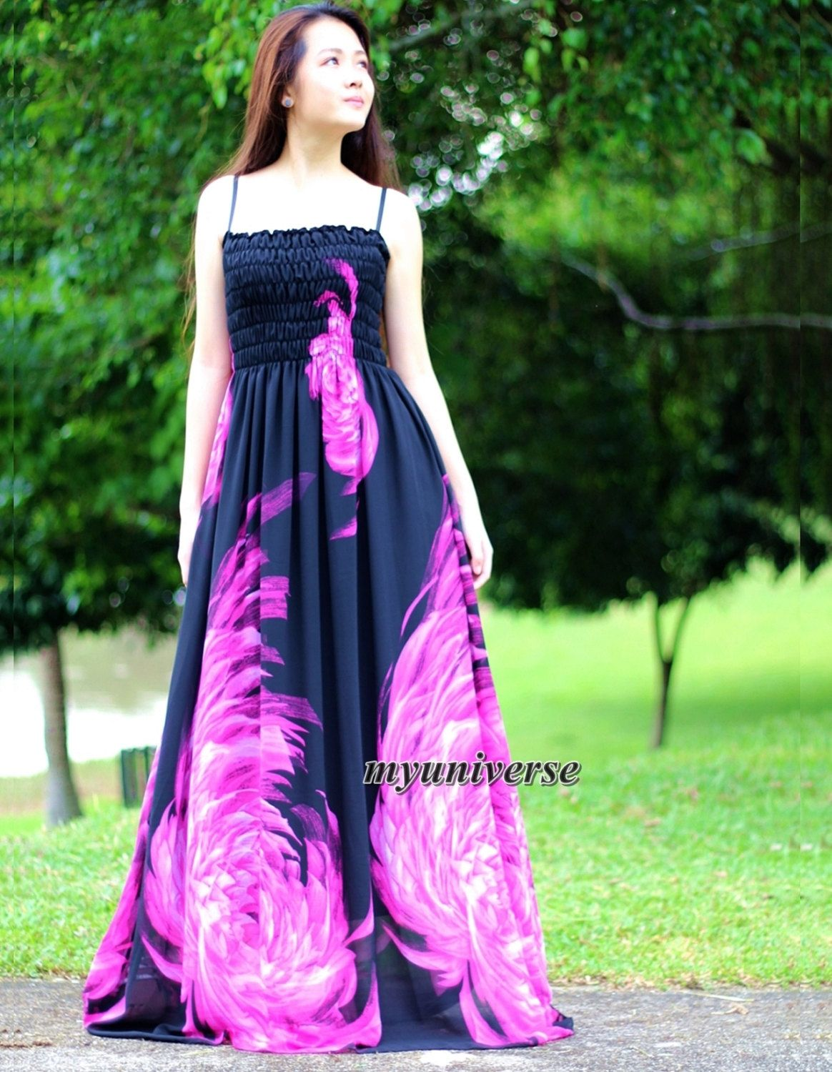 Black maxi dress gown sundress dress prom summer plus size floral