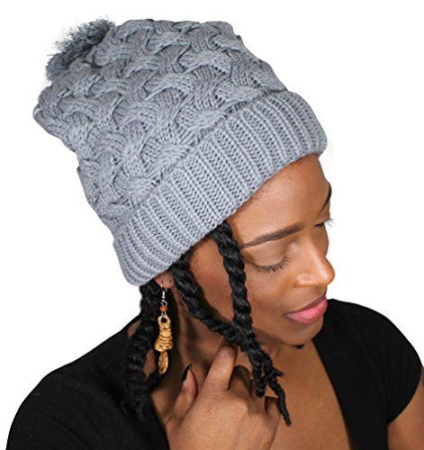 Satin Lined Knit Beanie Slouchy Hat with Pom Pom Grey   Find out more about  the great product at the image link. (This is an affiliate link) 919e79926d3