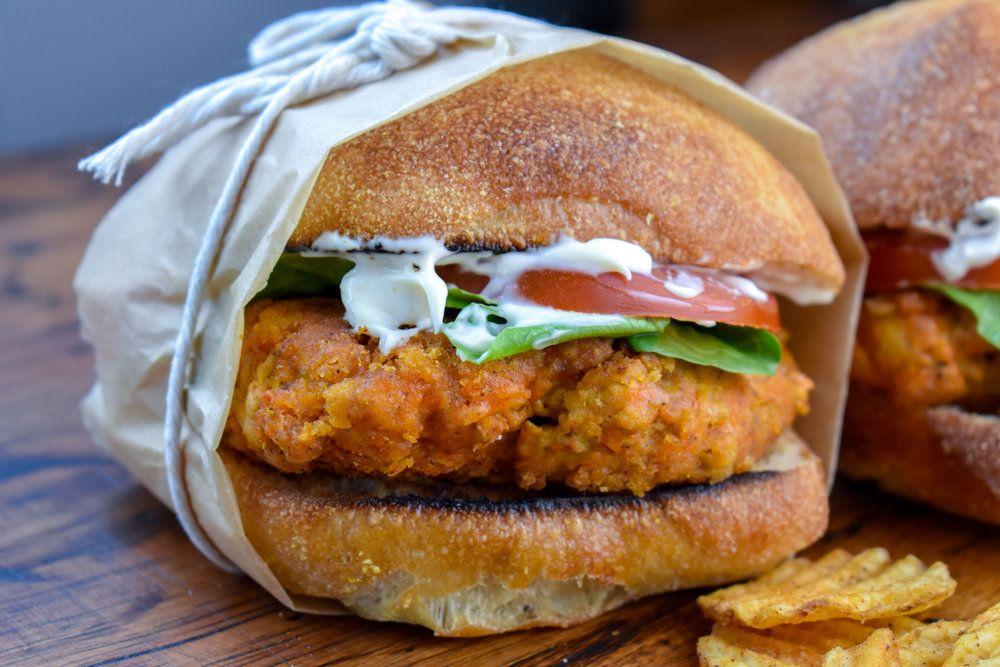 Vegan Wendy S Mock Spicy Chicken Sandwich W Meatfree Breaded Chicken Patty The Vegan Caveman Recipe Spicy Chicken Sandwiches Vegan Fried Chicken Chicken Patties