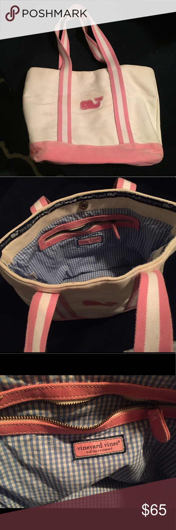Pink Vineyard Vines Bag Cute pink Vineyard Vines Bag! A little minor discoloration on the front near the whale. Great bag for summer. Grab it when heading to the beach 😎 Vineyard Vines Bags Totes