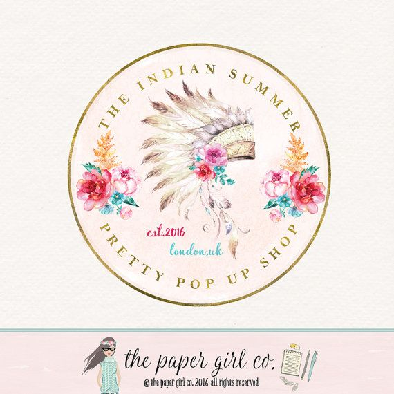 Boho Chic Logo Feather Premade Design Wedding Watercolor Flower Rustic Photography Watermark