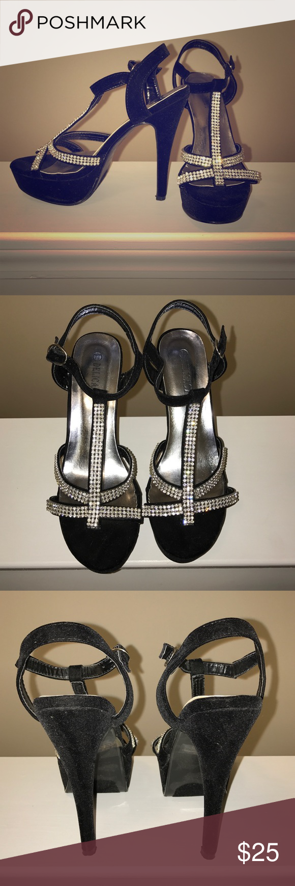 "Classy Rhinestone & Black ""Suede"" Strappy Heels Super sexy and versatile black ""suede"" and rhinestone stewpot platform heels that can be worn with just about any dressy outfit. Gently used but in near perfect condition. Shoes Heels"