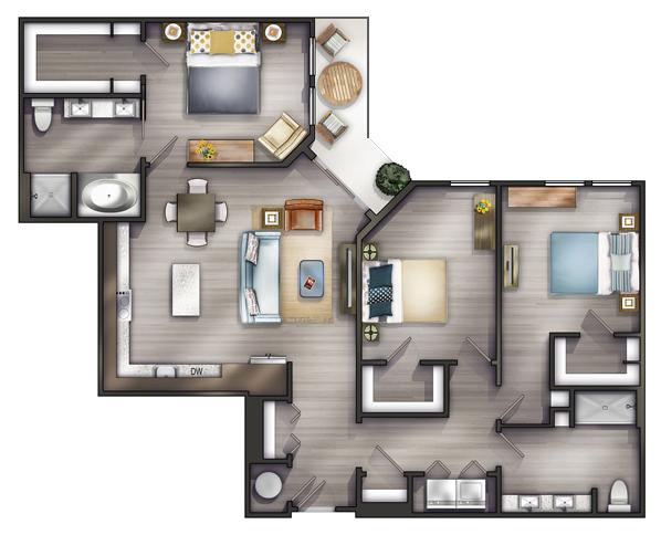 Studio Apartments Nashville Peyton Stakes Luxury Apartments C1 3 Bed 2 Bath 1463 Sq Ft Startin Apartment Floor Plans Small House Plans Apartment Layout