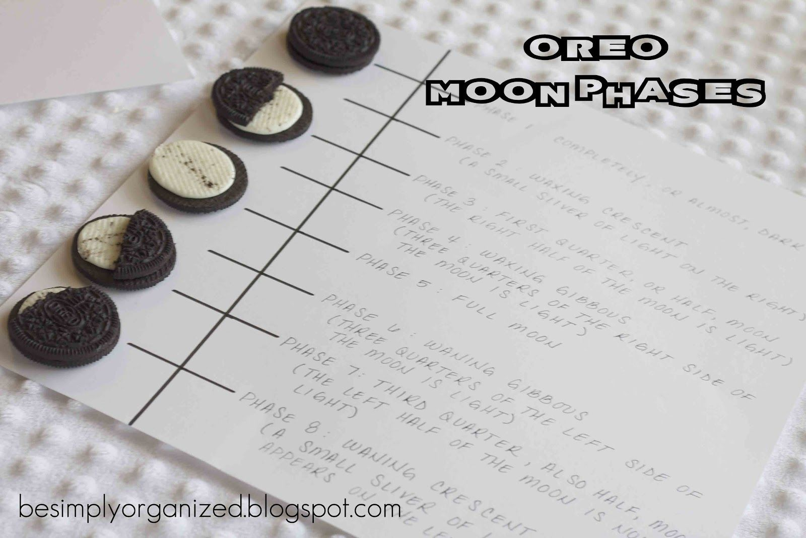 simply organized: fun summer kid activity: oreo moon phases