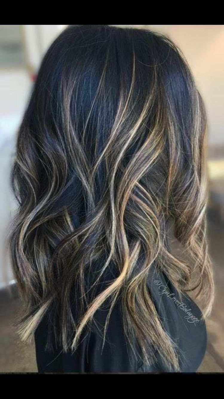 Brunette Balyage | Cool Brunette | blond highlights ...
