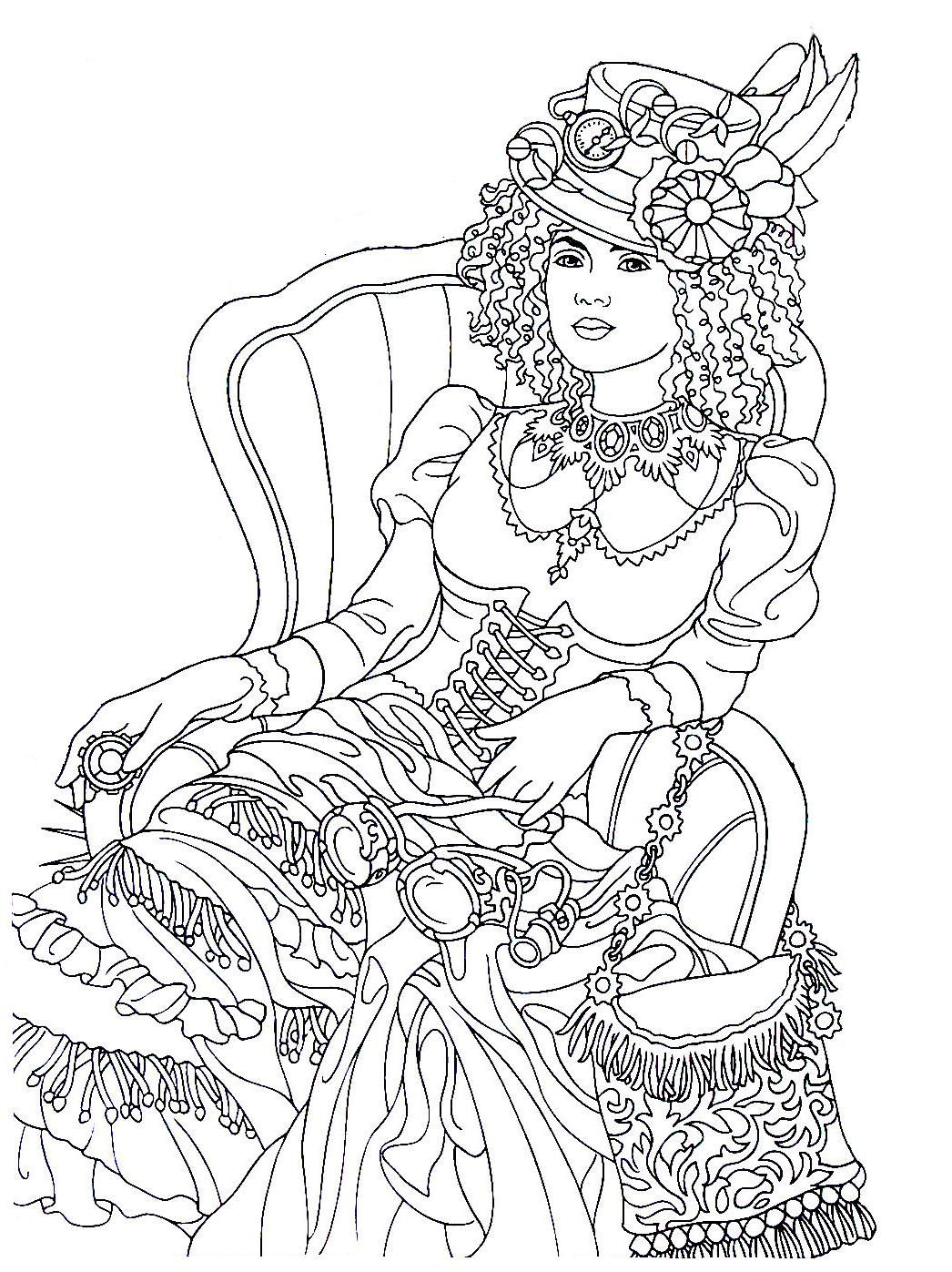 Steampunk Printable Coloring Book Page Easy To Medium Difficulty Coloring Steampunk Coloring Coloring Books Designs Coloring Books