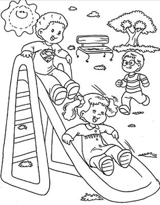Ninos En Fila Para Colorear Desenhos De Criancas Brincando