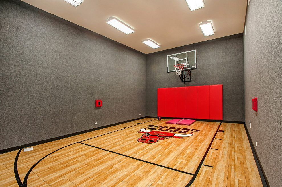 Indoor basketball courts home gym contemporary with vaulted ...