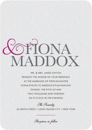 Signature White Wedding Invitations Truly Together - Front  Azalea