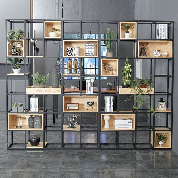 Industrial solid wood shelf partition porch iron screen shelf household office partition bookshelf -   13 office planting ideas