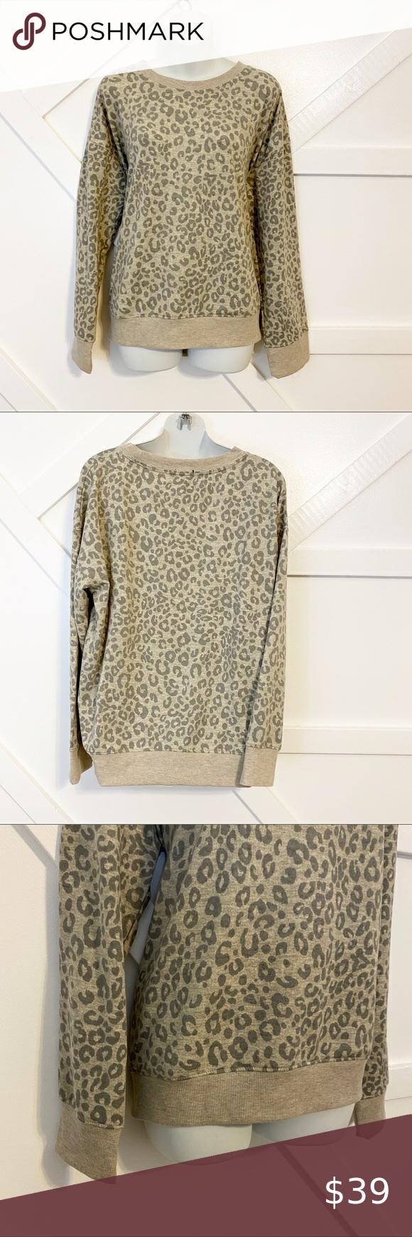 Splendid Leopard Print Crew Neck Sweatshirt Sz Xl Crew Neck Sweatshirt Mini Sweater Dress Cold Shoulder Sweatshirt [ 1740 x 580 Pixel ]