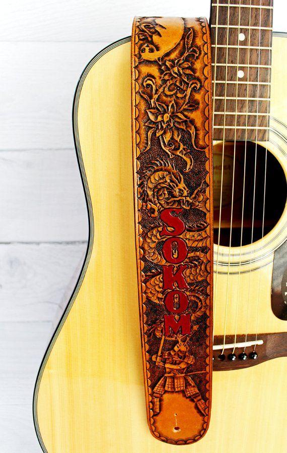 Samurai Dragon Personalized Full Grain Leather Guitar Strap Etsy Leather Guitar Straps Leather Craft Patterns Full Grain Leather