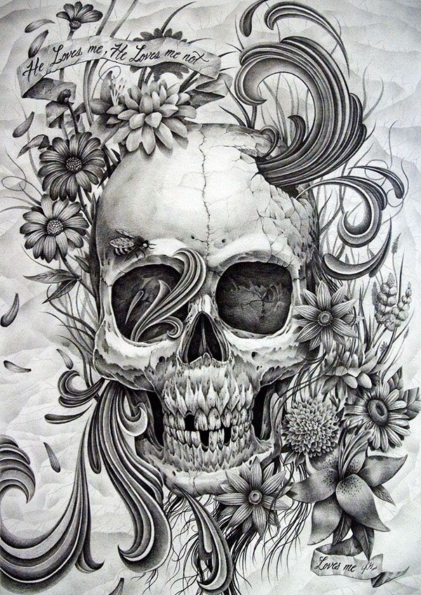 This is a series of drawings that I'm working on called the Love skull series. I'm expressing love in many different ways using skulls in each piece.