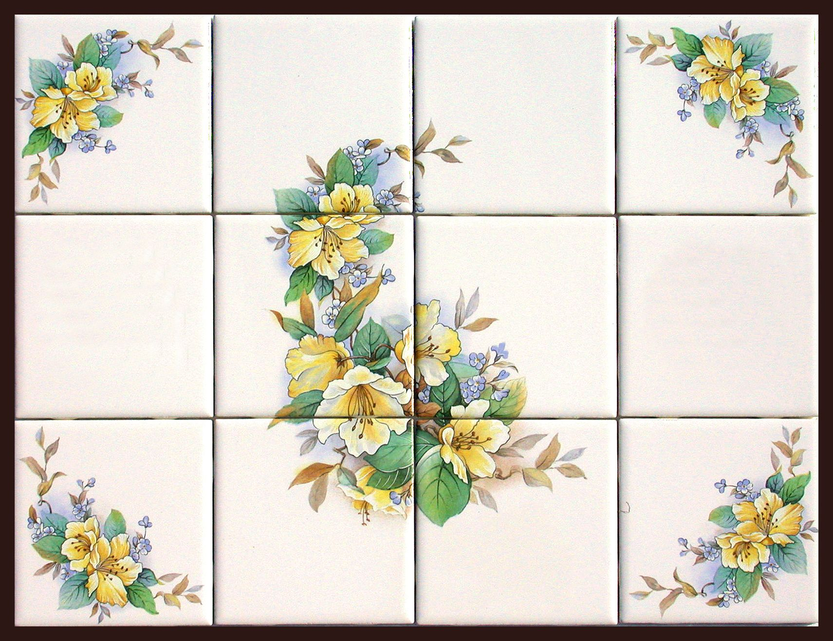 Rub on decals for tile ceramic tile murals with matching for Ceramic mural designs