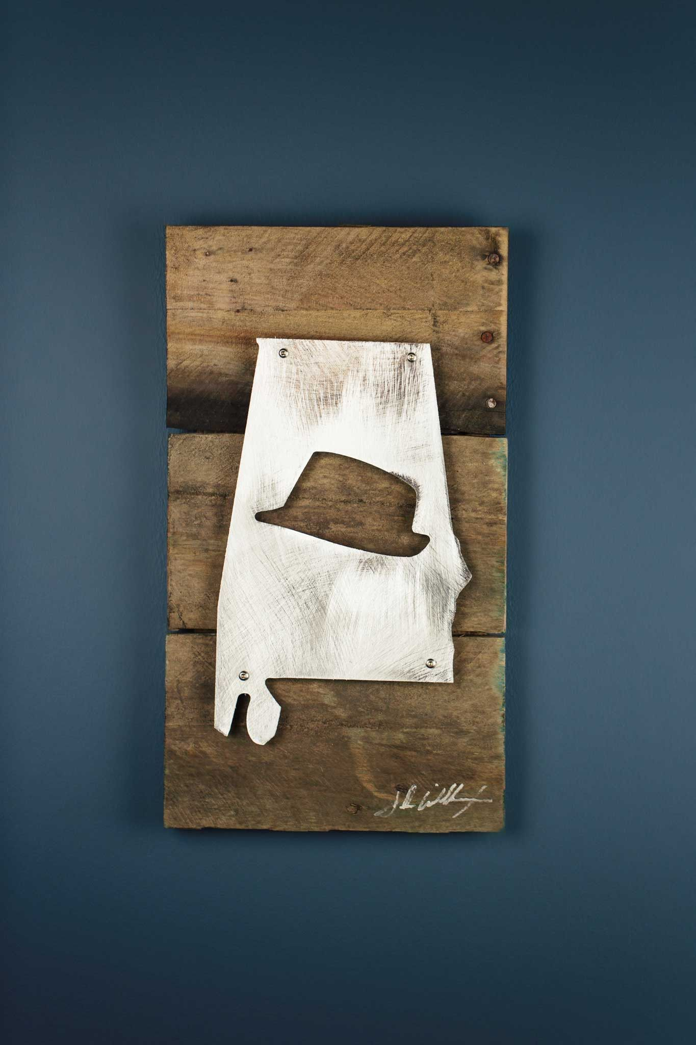 Alabama Fedora Reclaimed Wood & Shaped Metal Art | Products | Pinterest