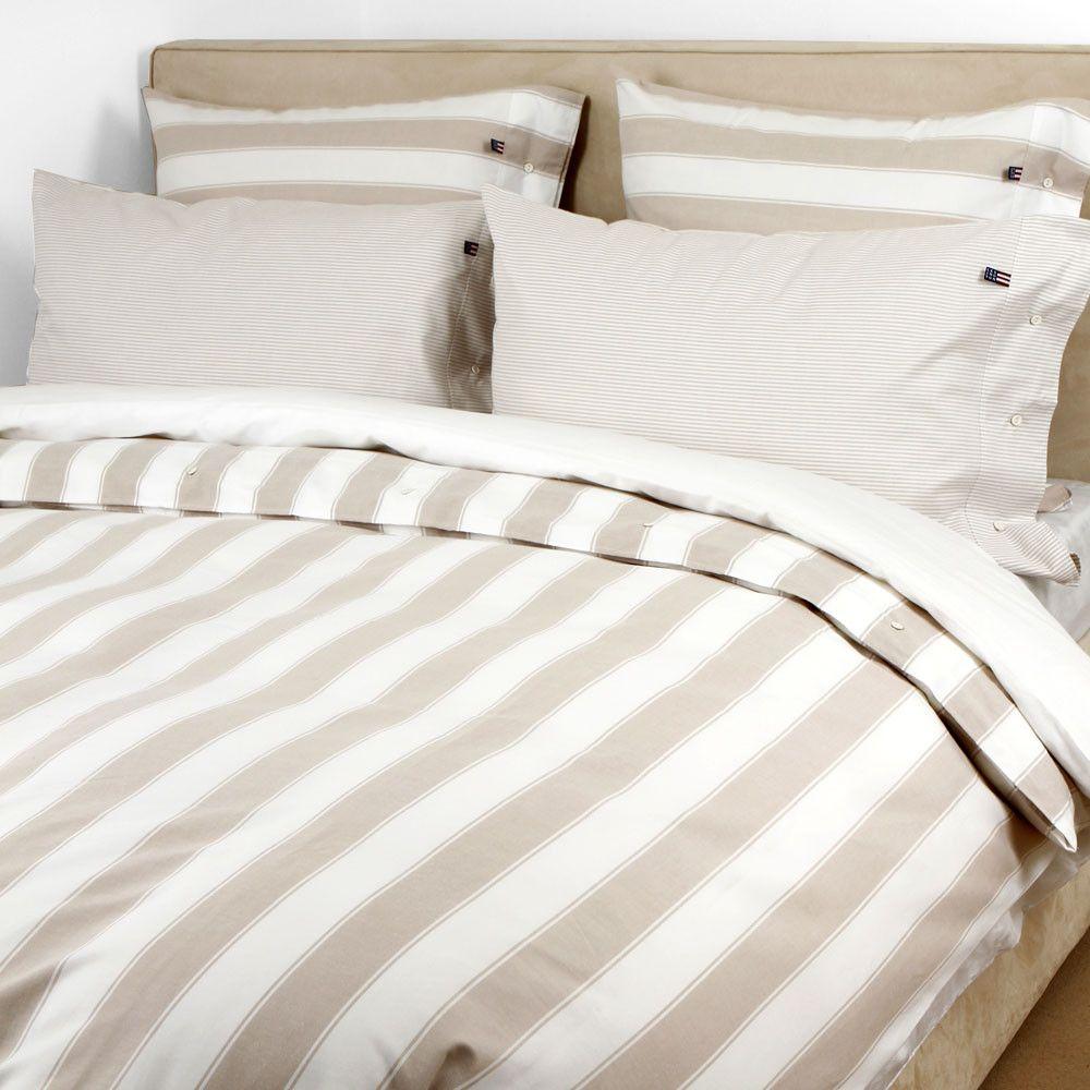 Pinpoint Oxford Block Stripe White Beige Duvet Cover