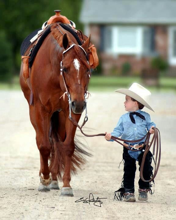 Too cute....love that tiny saddle on that horse