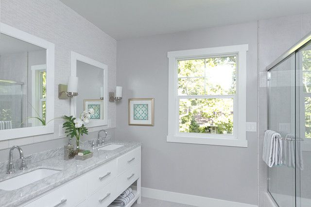 Sherwin Williams 6002 Essential Gray In Bathroom With White