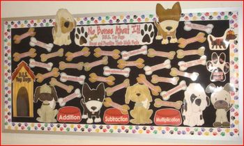 Bulletin Board Math Fact Practice Dog Themed Math Facts Math