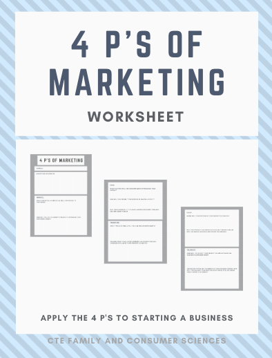 4 P S Of Marketing Worksheet Business P S Of Marketing Family And Consumer Science Fitness Business