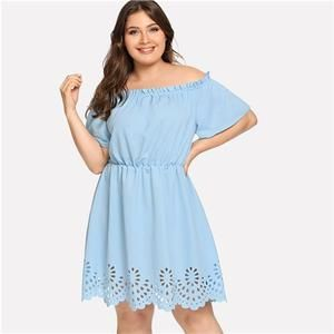 b10b0237be363 SHEIN Solid Ruffle Off the Shoulder Plus Size Scalloped Hem Elegant Women  Dress 2018 Summer Short Sleeve Casual Bardot Dresses - Deal4les