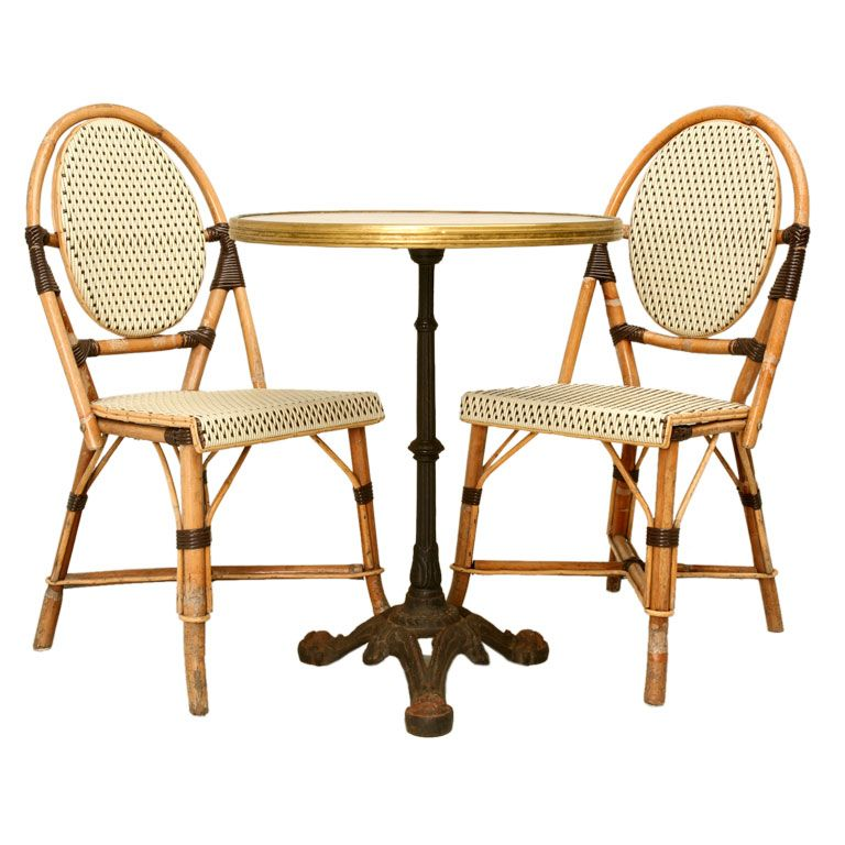 C.1950 French Bistro Table Paired W/ Bamboo Chairs