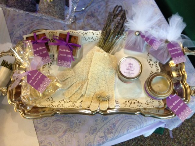 Wedding favor ideas include Lavender soaps, Lavender soy candles, Lavender chocolate truffles, Lavender sugar cookies and Lavender infused honey.
