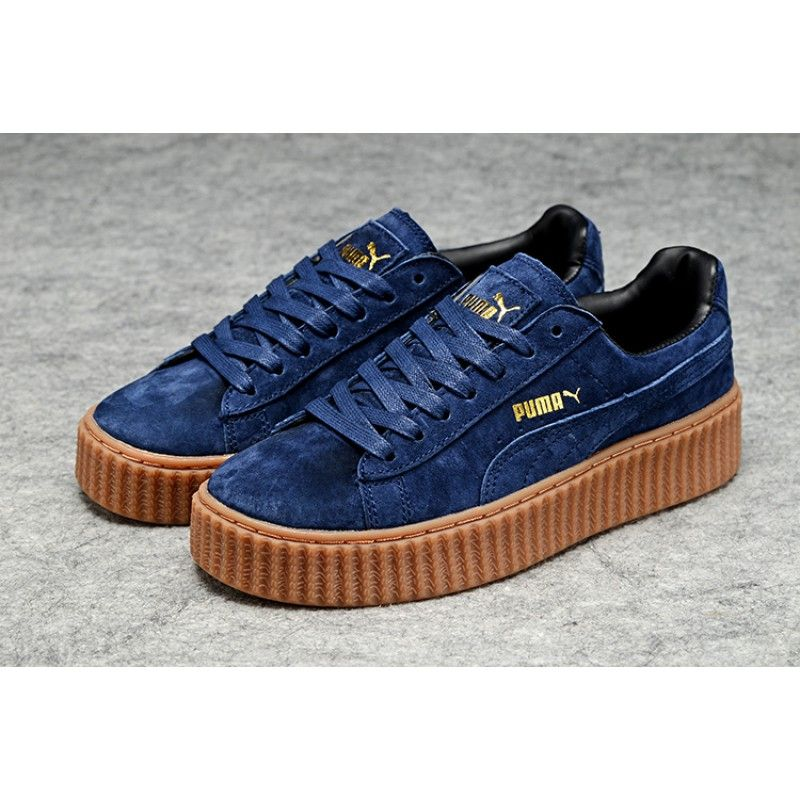9b046ac5fbbb Mens Womens Fenty Puma By Rihanna Suede Creepers Shoes Deep Royal Brown