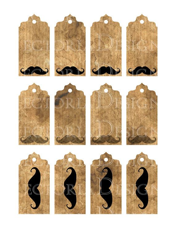 Mustache Grunge Tags Labels instant download by VectoriaDesigns