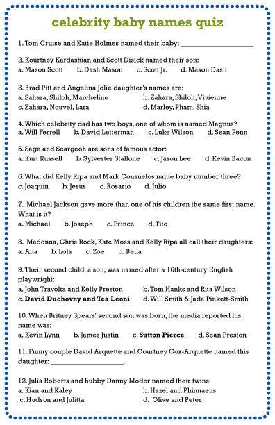 Baby Shower Celebrity Baby Quiz : shower, celebrity, Celebrity, Names, Names,, Shower, Quiz,, Babies