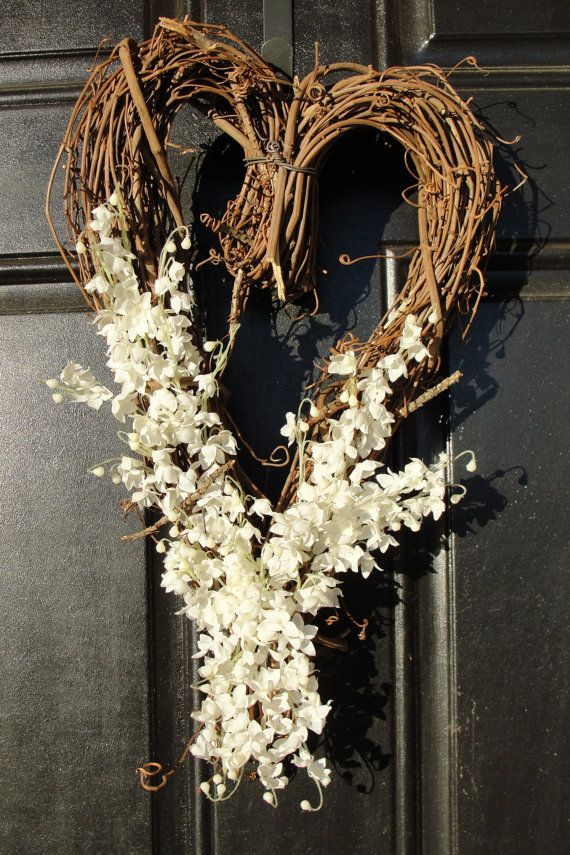 Heart Shaped Grapevine Wreath Lily Of The Valley By Abbiesflowers Heart Shaped Wreaths Grapevine Wreath Grape Vines