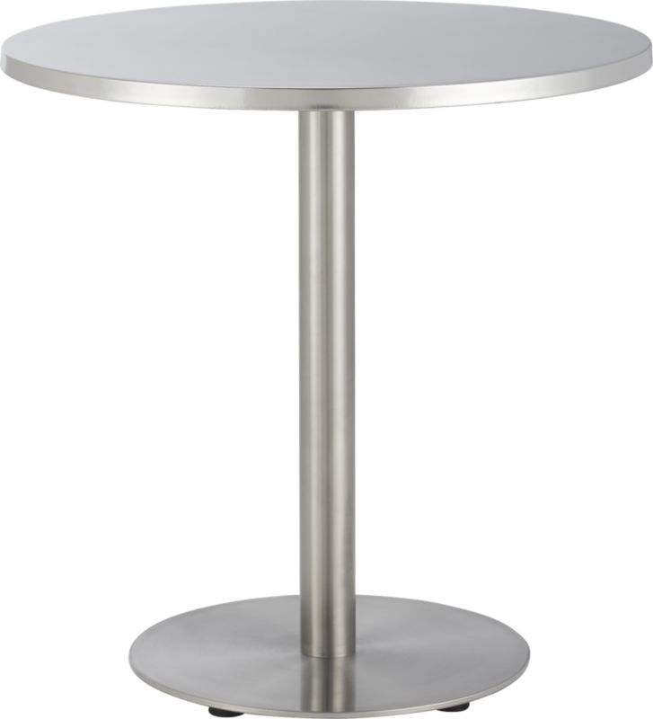 Polished Stainless Steel Slicks Up The Classic Bistro Table In This Modern  Interpretation By Mark Daniel Of Slate Design. Elevated On A Sleek Pedestal  Frame ...