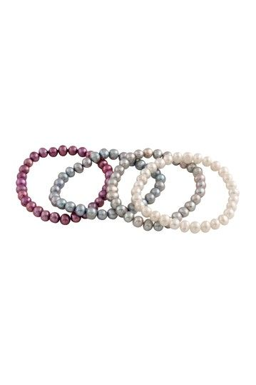 6-7mm Multicolor Freshwater Pearl Stretch Bracelet Set by Gilo Creations on @HauteLook