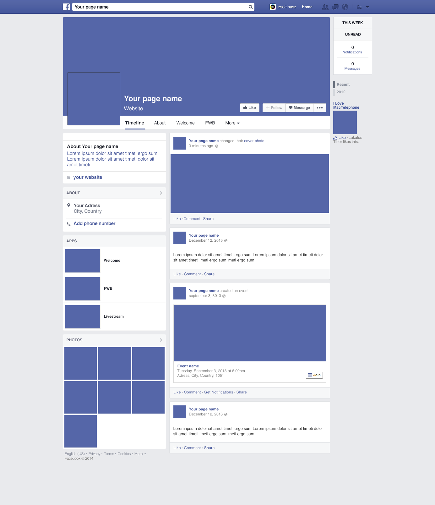Blank Facebook Template - 12+ Free Word, PPT & PSD ...  |Blank Facebook Timeline Page