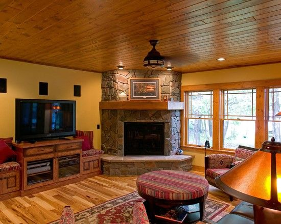 Family Room Corner Fireplace Basement Design
