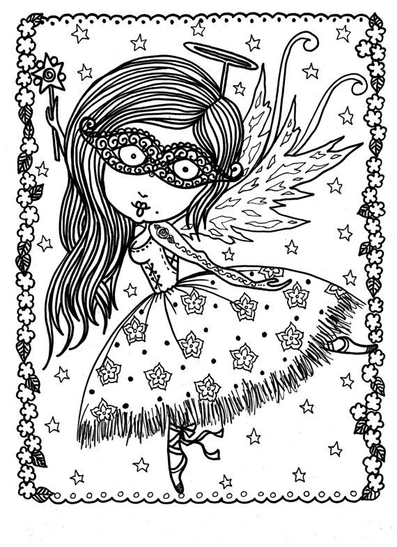Downloadable Coloring Pages Funky Fairy by ChubbyMermaid on Etsy ...