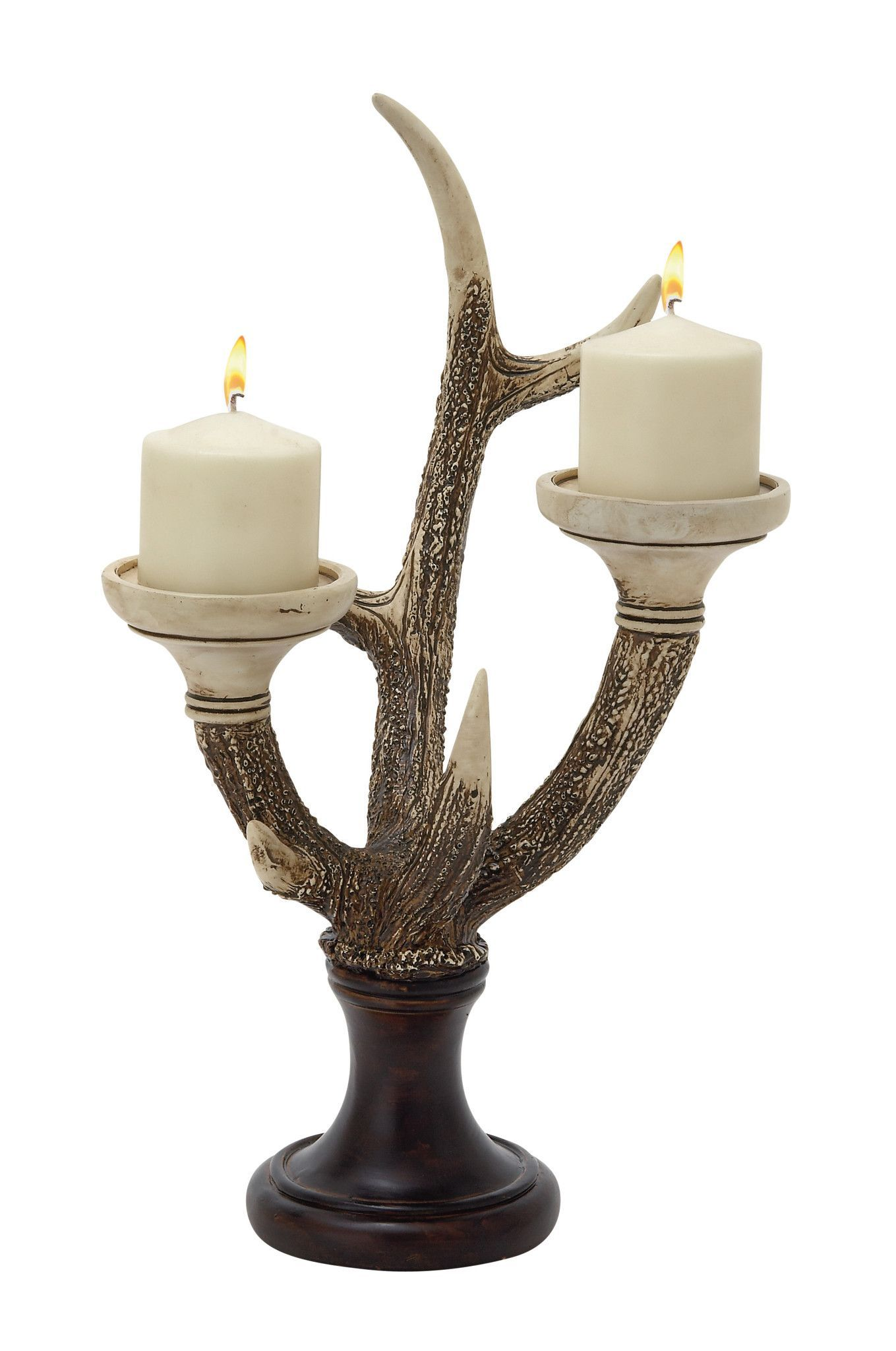 19 resin wood white brown natural style antlers decorative candle stick holder