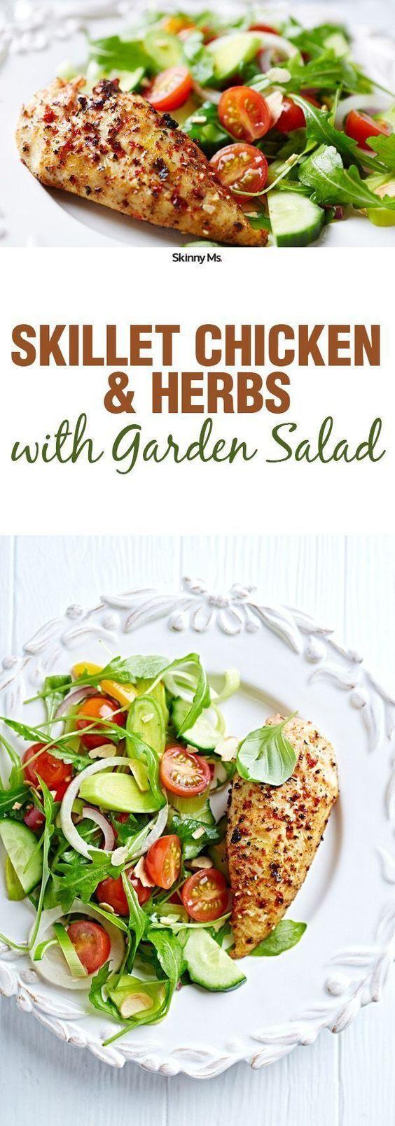 Skillet Chicken Herbs with Garden Salad