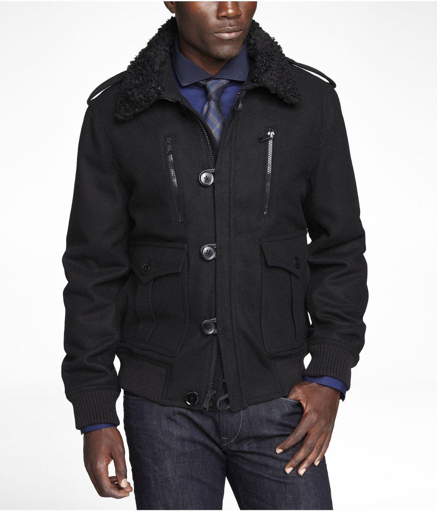 Wool Blend Faux Fur Collar Bomber Jacket Express Stylish Mens Outfits Express Outfits Mens Outfits [ 1640 x 1404 Pixel ]
