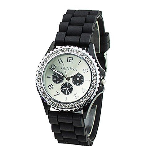 Geneva Women's Fashion Crystal Case Black Silicone Band Quartz Wrist Watch Jelly Watches Gifts - Jewelry For Her
