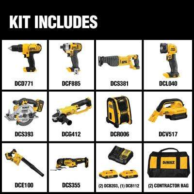 Dewalt 20 Volt Max Lithium Ion Cordless Combo Kit 10 Tool W 2 Batteries 2 0ah Charger Tool Bag Dck1020d2 The Home Depot Dewalt Power Tools Dewalt Combo Kit