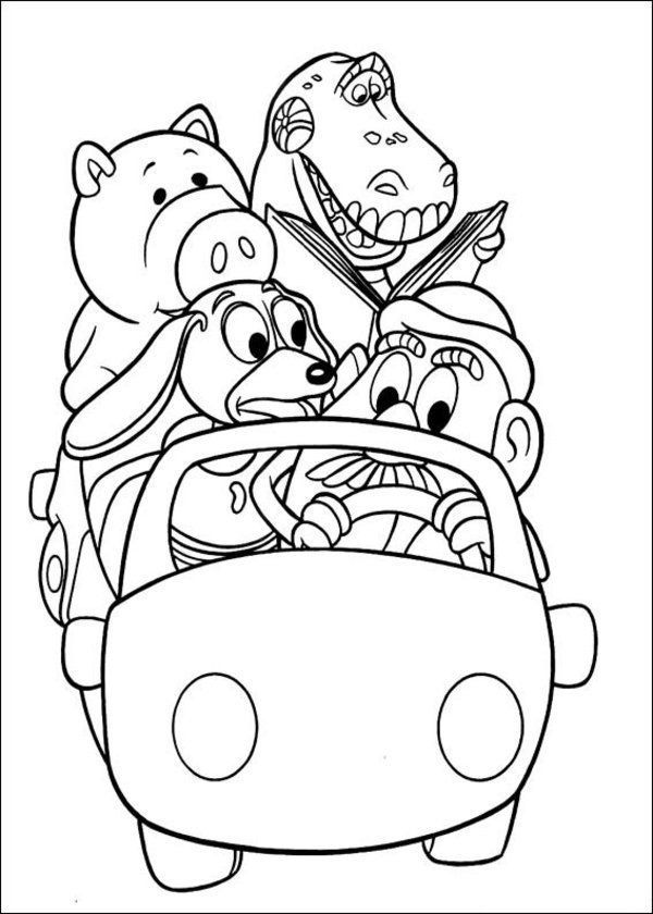 alttoy story coloring pages for kids in the car
