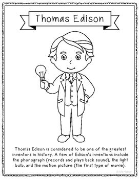 Thomas Edison Inventor Coloring Page Craft Or Poster Stem