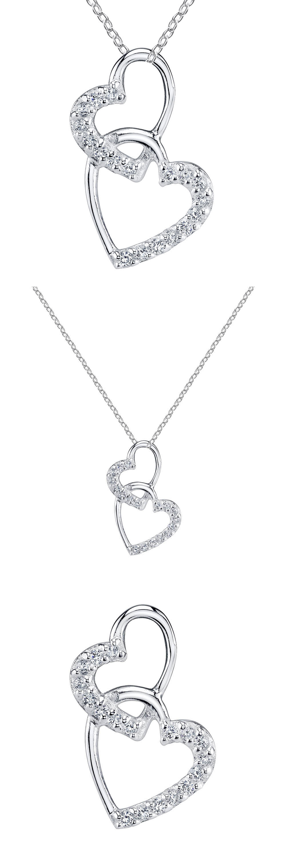 Valentine Gifts: Minxwinx Double Heart Sterling Silver And Cubic Zirconia Necklace Valentine Gift -> BUY IT NOW ONLY: $18.7 on eBay!