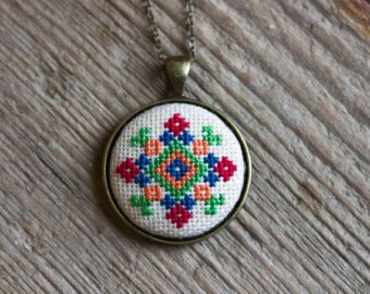 Ethnic necklace Hand embroidered cross stitch jewelry by skrynka