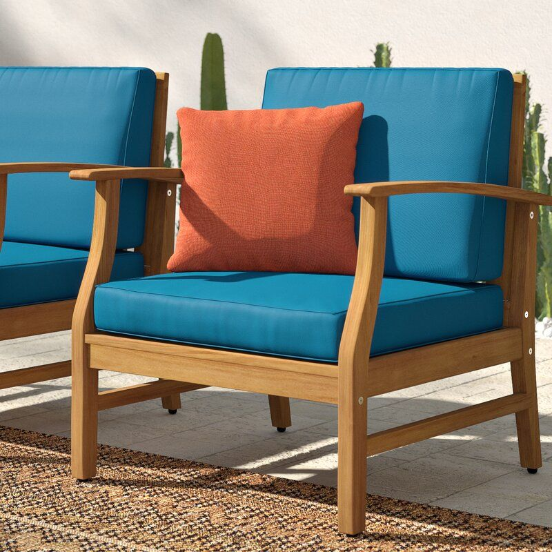 Outdoor Wood Patio Chair With Cushions