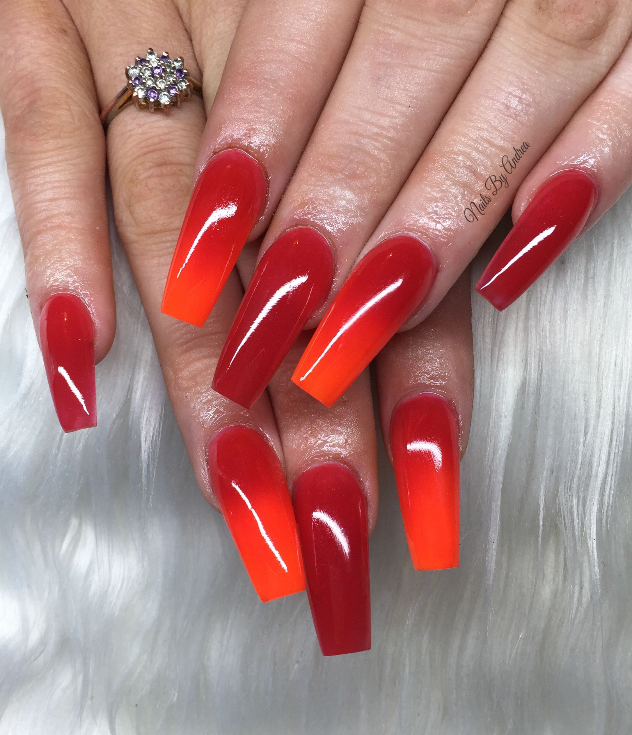 Red And Orange Ombre Acrylic Nails Red Orange Nails Nails Stylish Nails