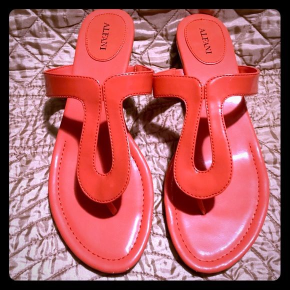 Orange sandals by Alfina  SEAHAWKS SALE  Brand new and in a retro bright orange, these Alfani low heel sandals are both fashionable and comfortable. Alfani Shoes Sandals