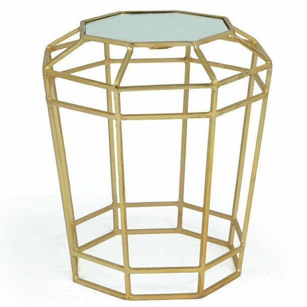 Geometric Side Table with Marble Top